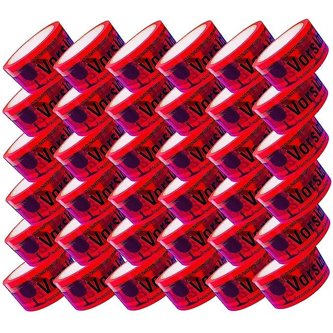 3 Rollen Klebeband Vorsicht Glas Paketband 66m x 48mm in Rot PP Packband Paketklebeband Kleberolle Rot Warnhinweis Signalband extra stark und Klebrig