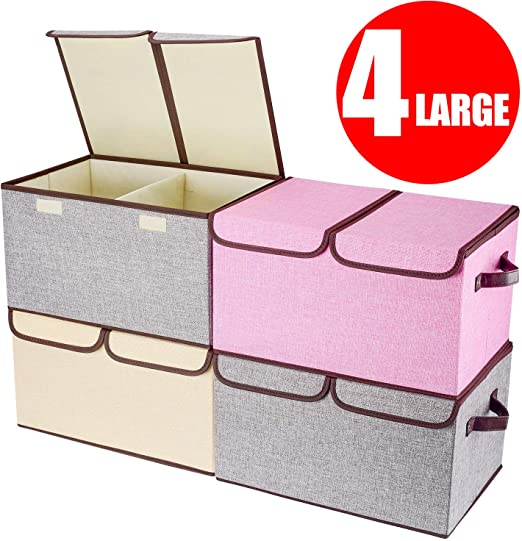 Fabric Foldable Cube Storage Bin Clothes Sundries Toy Organizer Box Pink