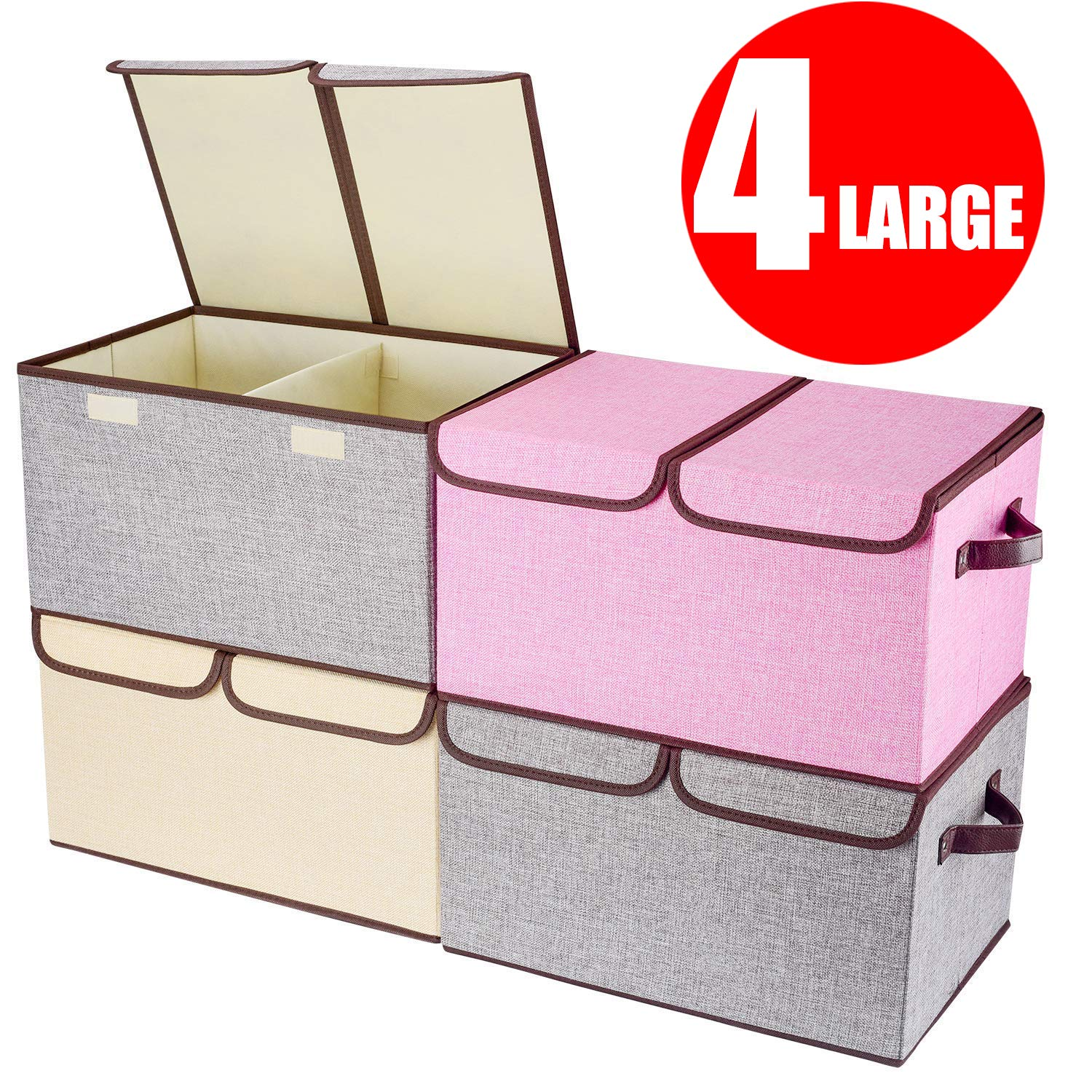 Larger Storage Cubes [4-Pack] Senbowe Linen Fabric Foldable Collapsible Storage Cube Bin Organizer Basket with Lid, Handles, Removable Divider For Home, Nursery, Closet - (17.7 x 11.8 x 9.8'') by senbowe