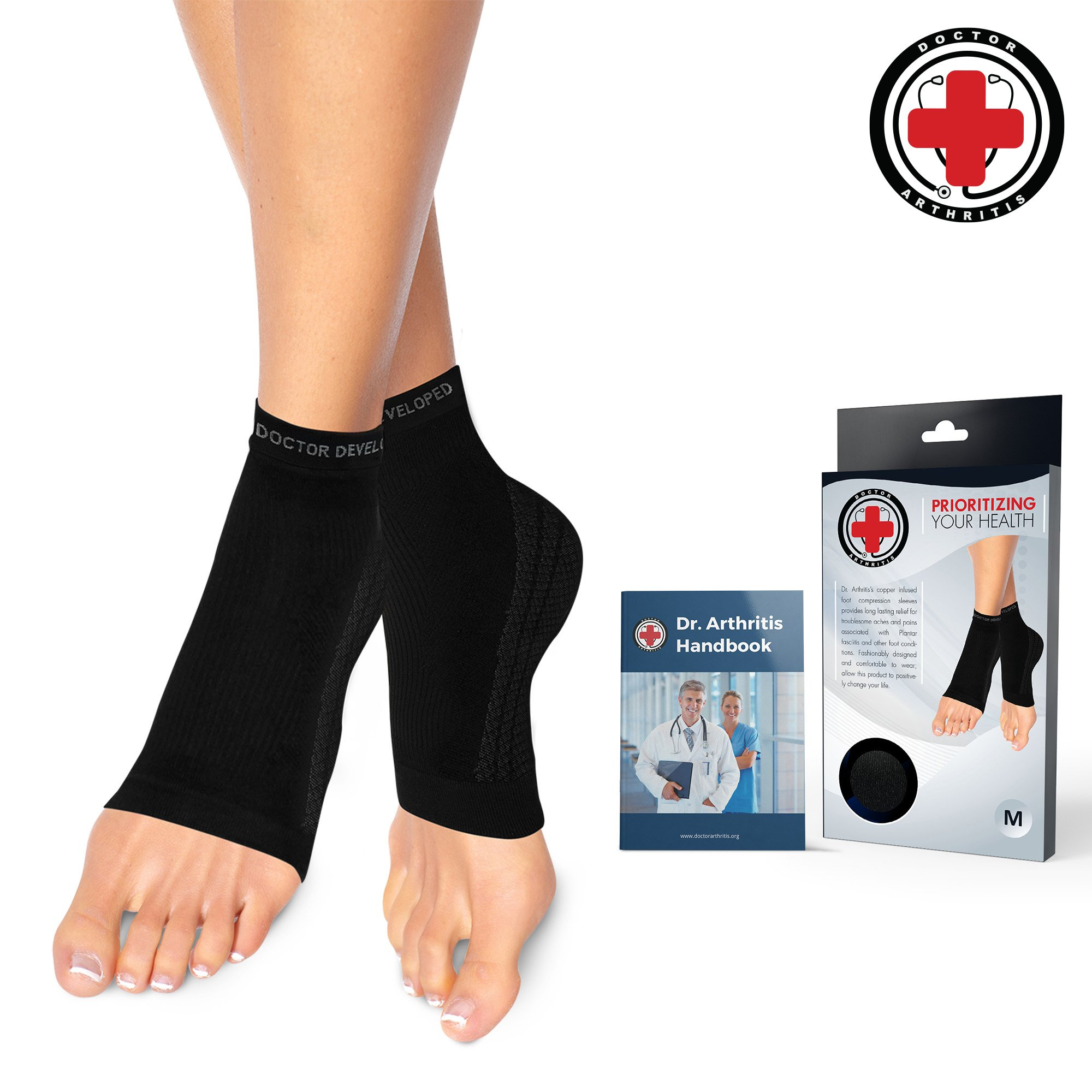 Dr. Arthritis Doctor Developed Copper Foot Sleeves/Plantar Fasciitis Socks (Pair) and Doctor Written Handbook -Guaranteed Relief for Plantar Fasciitis, Heel Support & Ankle Conditions (M) by Dr. Arthritis