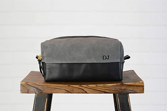 Amazon.com  Personalized Black Leather and Grey Canvas Dopp Kit ... 4574d2b3e5f4c