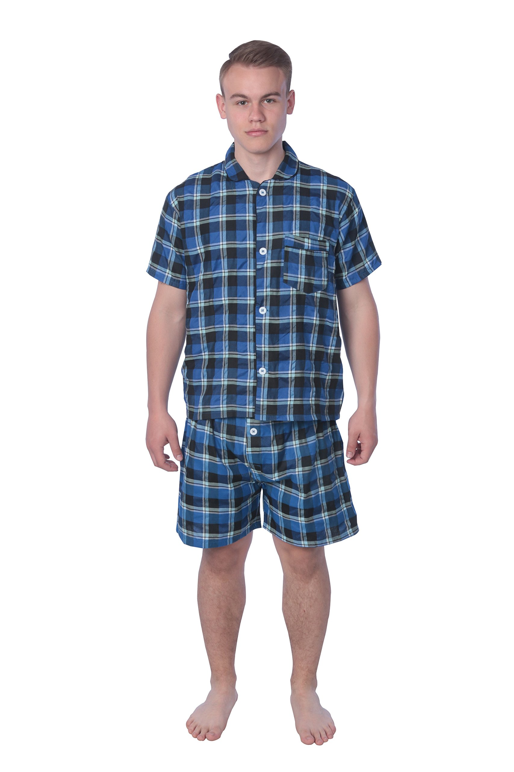 James Fiallo Mens Pajamas Set, 100% Cotton, Comfortable, Non Sweating, All Seasons, Winter, Spring, Fall, Summer. (MPJ06-BLU-CHECK.L)