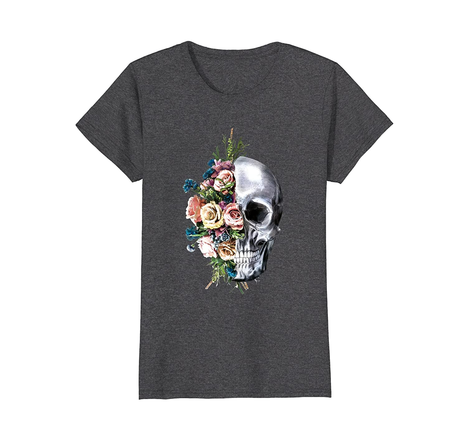 Womens Flower Skull T-Shirt Sugar Roses for Women Girls Halloween-mt