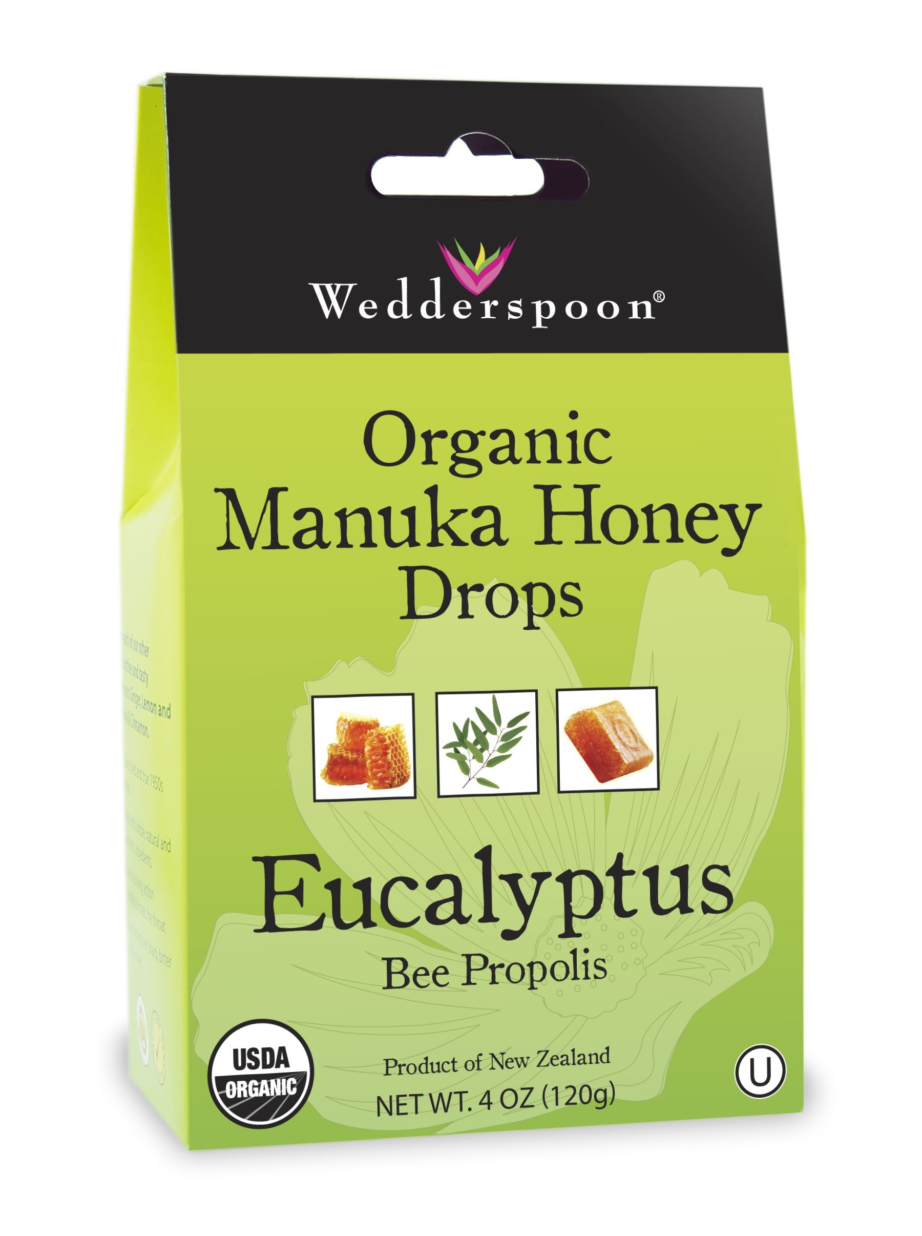 Wedderspoon Organic Manuka Honey Drops, Eucalyptus + Bee Propolis, 4.0 Oz, Unpasteurized, Genuine New Zealand Honey, Perfect Remedy For Dry Throats