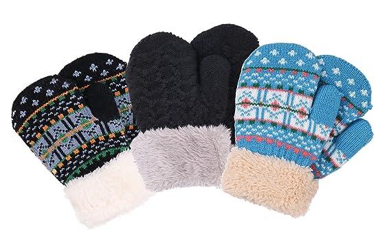 Amazon Halconia 3 Pair Kids Unisex Knit Winter Mittens Clothing