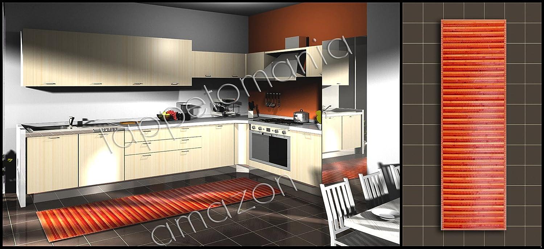Tappeto BEIGE in bamboo per la cucina,bagno,corridoio,antimacchia e antiscivolo (cm 50 x 80, Beige) didiesse srl