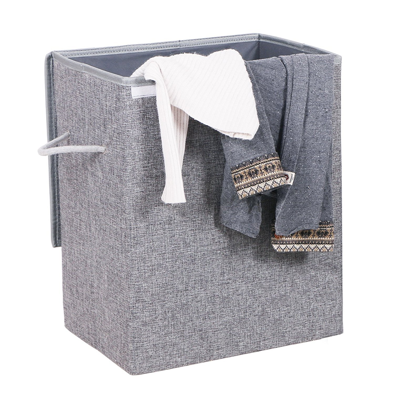 BEWISHOME Foldable Laundry Hamper,Large Laundry Basket Storage Bin for Clothes,Dirty Clothes Hamper w/Lids/Velcro,Grey Hamper with Removable liners & Sturdy Handles Grey YYL01G