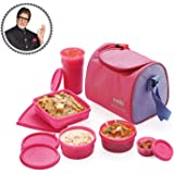 Cello Max Fresh Sling 5 Container Lunch Box With Bag,Pink