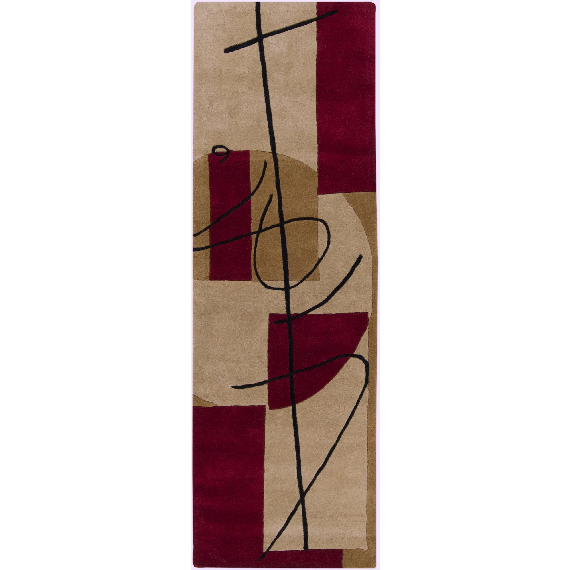 Surya Naya HST-3005 Contemporary Hand Tufted 100% New Zealand Wool Frappe 2'6'' x 8' Abstract Runner