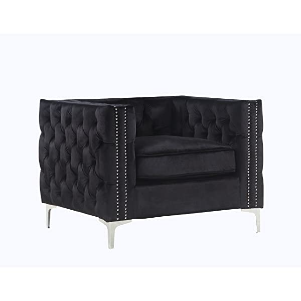 Iconic Home Da Vinci Accent Club Chair Velvet Button Tufted with Silver Nail Head Trim Silvertone Metal Y-Leg, Modern Contemporary, Black