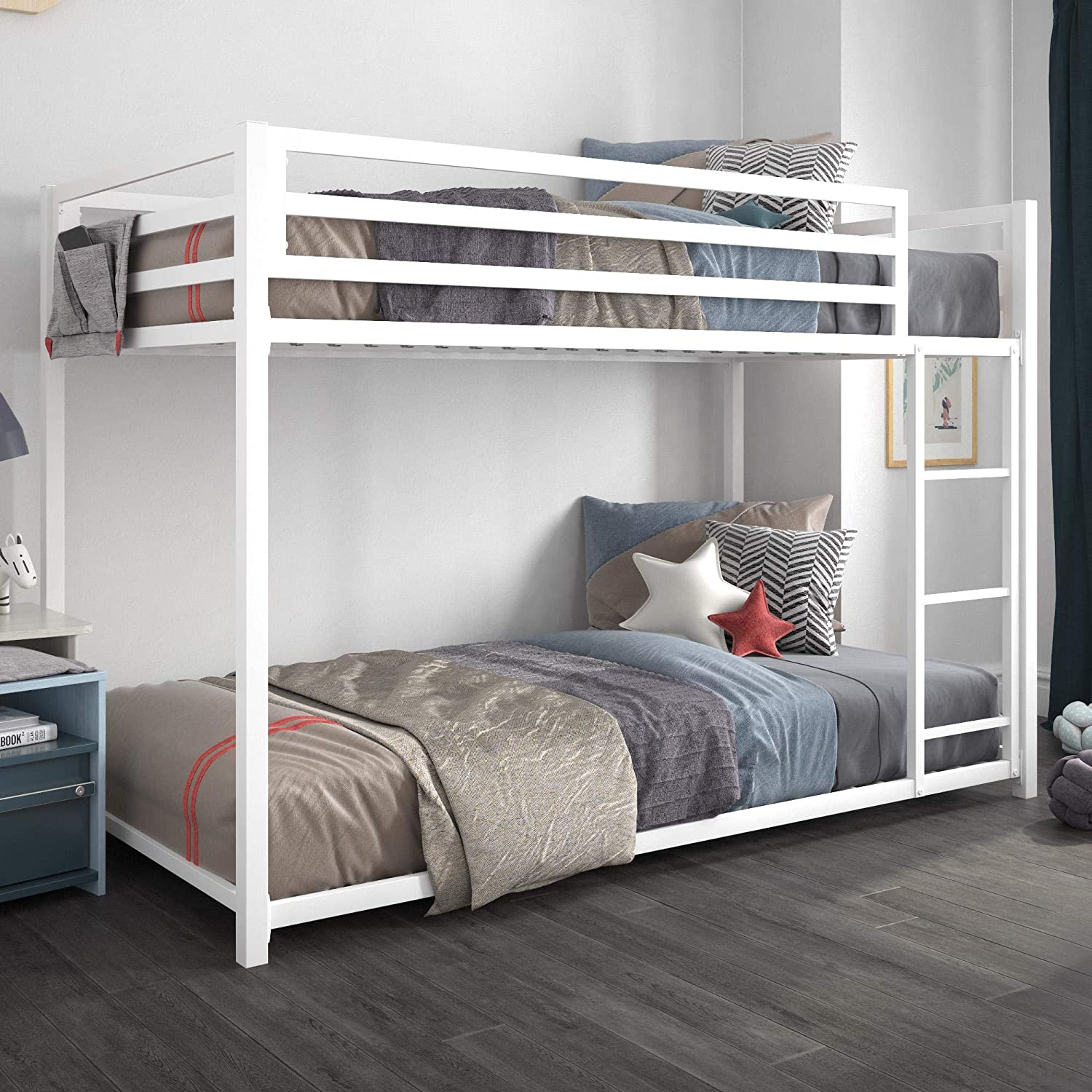 DHP Miles Metal Bunk Bed, White, Twin over Twin
