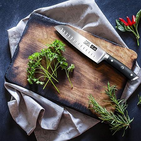 SHAN ZU Cuchillo Santoku Japones, Cuchillos de Cocina Profesionales 18cm, 7 ''Cuchillo Chef de Acero Inoxidable Alemán de Alto Carbono, Cuchillos Cocinero para Frutas, Verduras, Carne
