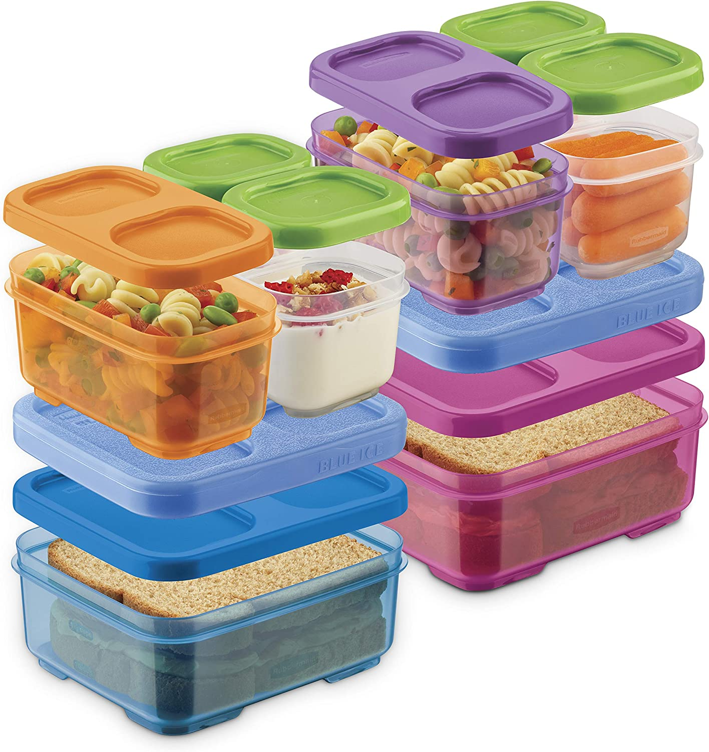 Rubbermaid 2108406 LunchBlox Kids Box and Meal Prep, 2 Pack Set | Stackable & Microwave Safe Lunch Containers | Assorted Colors, Purple/Pink/Green