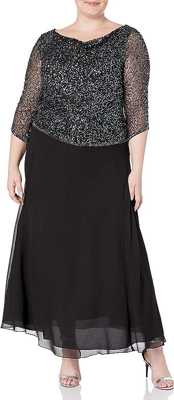 J Kara Women\'s Plus Size Long Beaded Dress with Cowl Neck