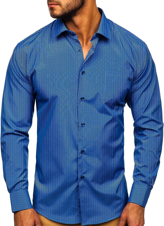 BOLF Camisa Elegante de Rayas de Manga Larga para Hombre Mix 2B2: Amazon.es: Ropa y accesorios