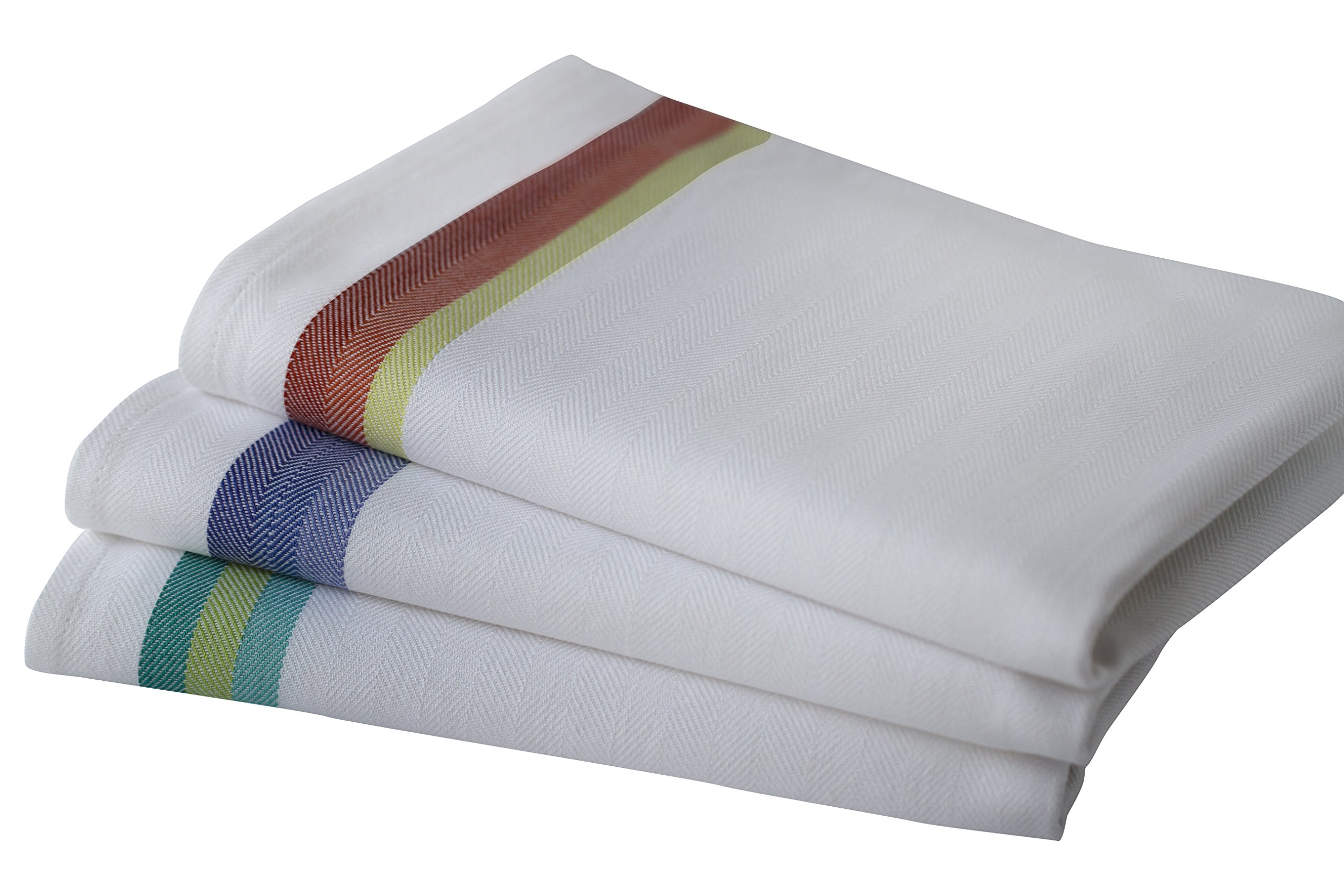 Kitchen Dish Towels set of 12-Tea Towels by Harringdons, 100% cotton. LARGE Dish Cloths 28''x20'' soft and absorbent. White with blue, green and red stripes, 4 of each. There's no substitute for QUALITY by Harringdons (Image #4)