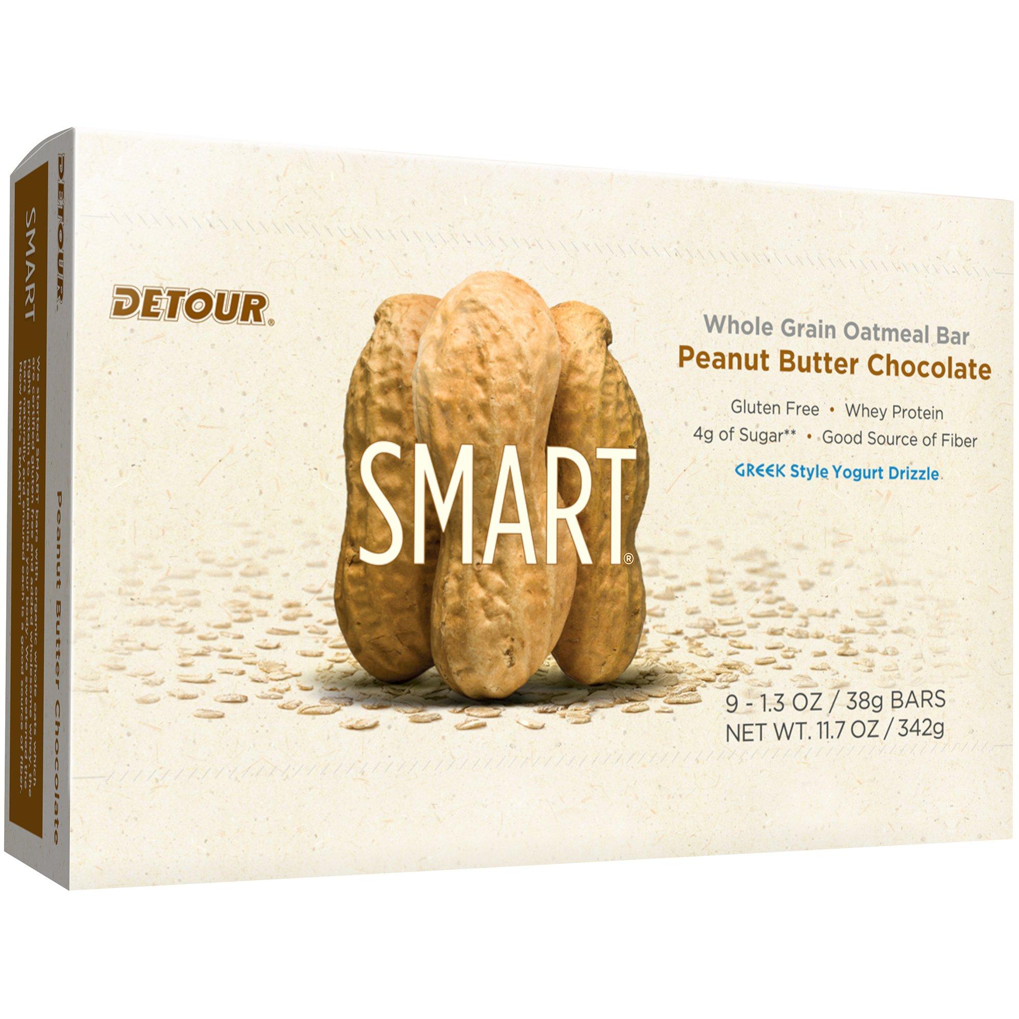 Detour Smart Gluten Free Oatmeal Bar, Peanut Butter Chocolate, 11.7 Ounce,