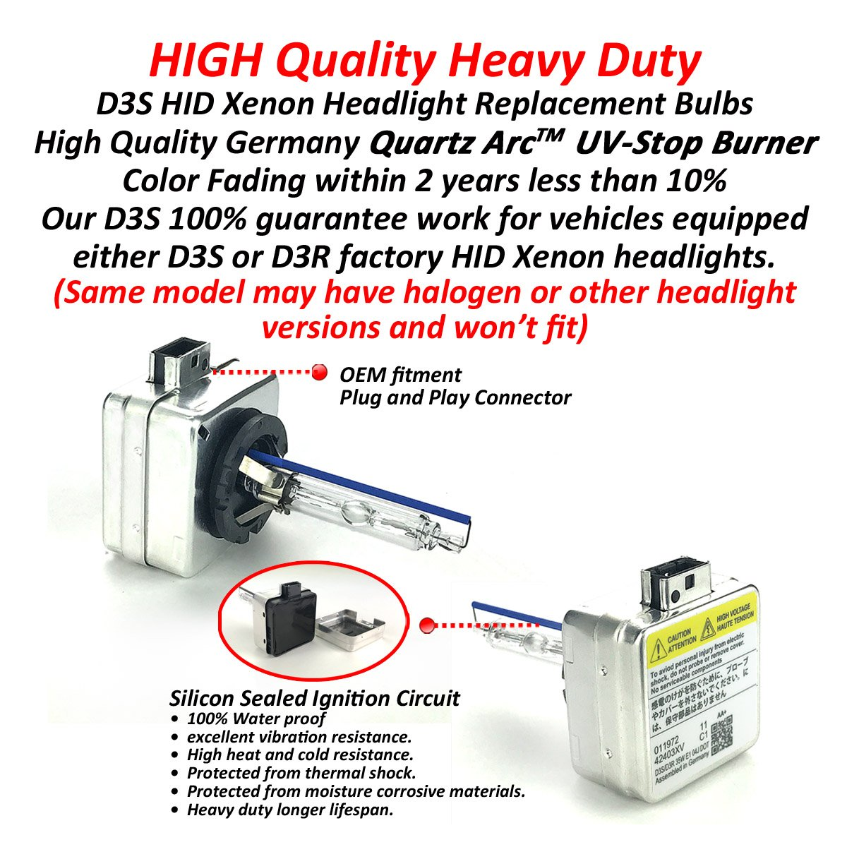 8000K Iceberg Heavy Duty D3S HID Xenon Headlight Replacement Bulbs 35W Non-Mercury High Low Beam Pack of 2