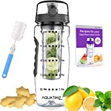 AQUATIME Time Marked Fruit Infuser Water Bottle Large 32 oz – Free Brush for Easy Clean – Convenient to Carry - Leak Proof - FDA Approval BPA Free & Eco – Friendly Tritan Copolyester Plastic