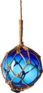 "Hampton Nautical Blue Japanese Glass Ball Fishing Float with White Netting Decoration 4"""