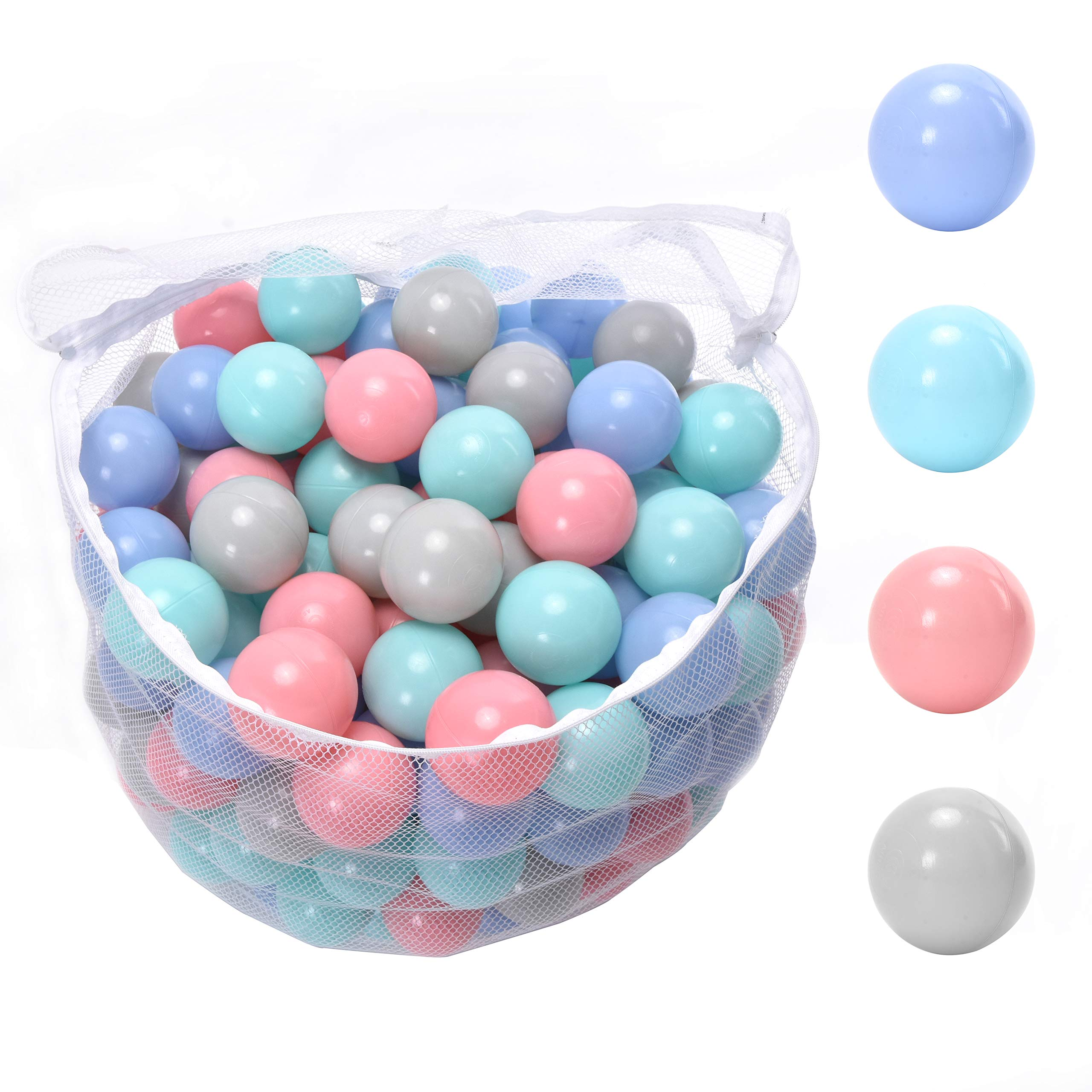 WonderPlay Kids' Ball Pits, Pack of 200 Phthalate Free BPA Free Crush Proof Plastic Colorful Ball,with Reusable and Durable Storage Mesh Bag with Zipper