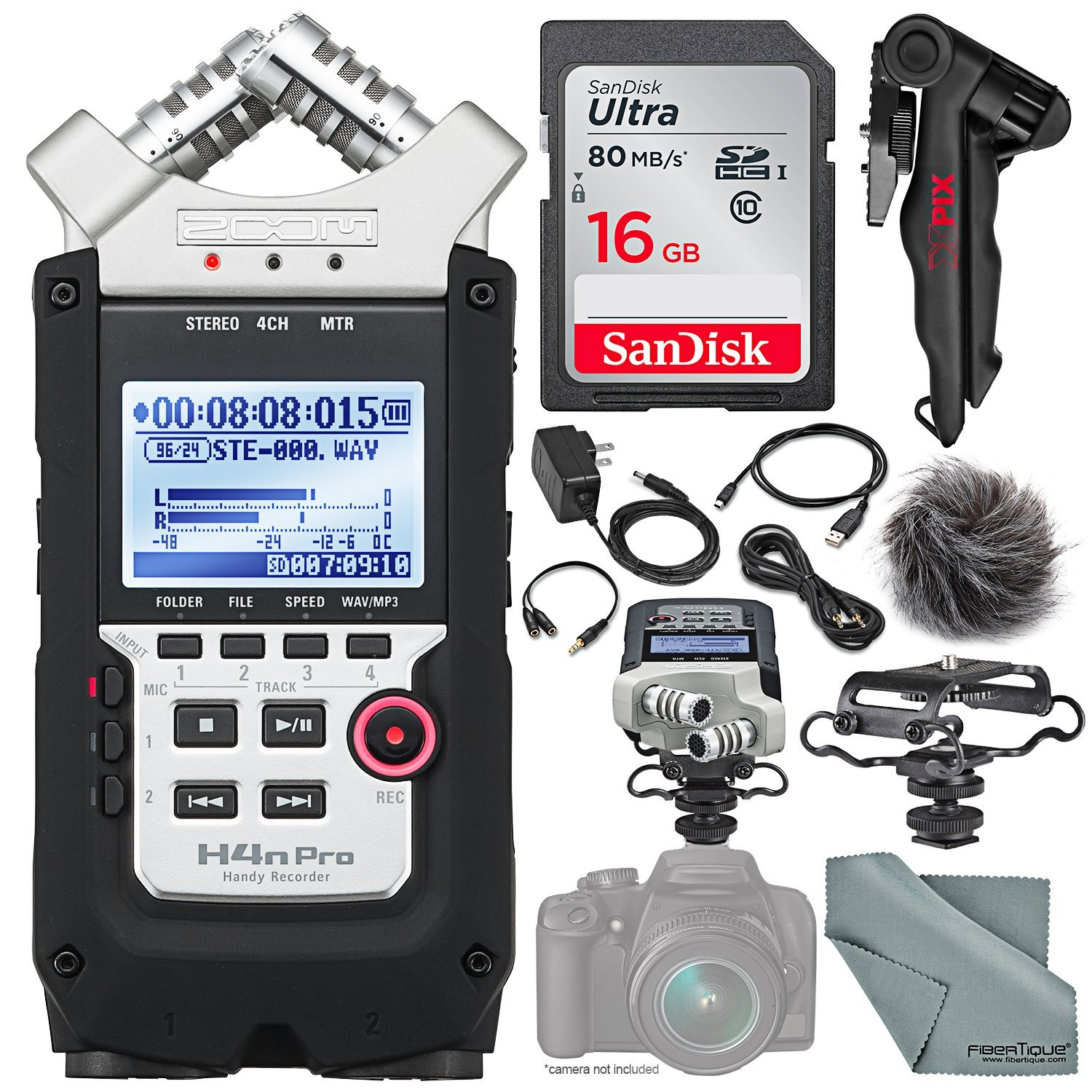 Zoom H4nPro Four-Channel Handy Audio Recorder – Accessory Pack kit, Microphone Shock mount, Table tripod, 16GB, along with Fibertique Cleaning cloth 10774682