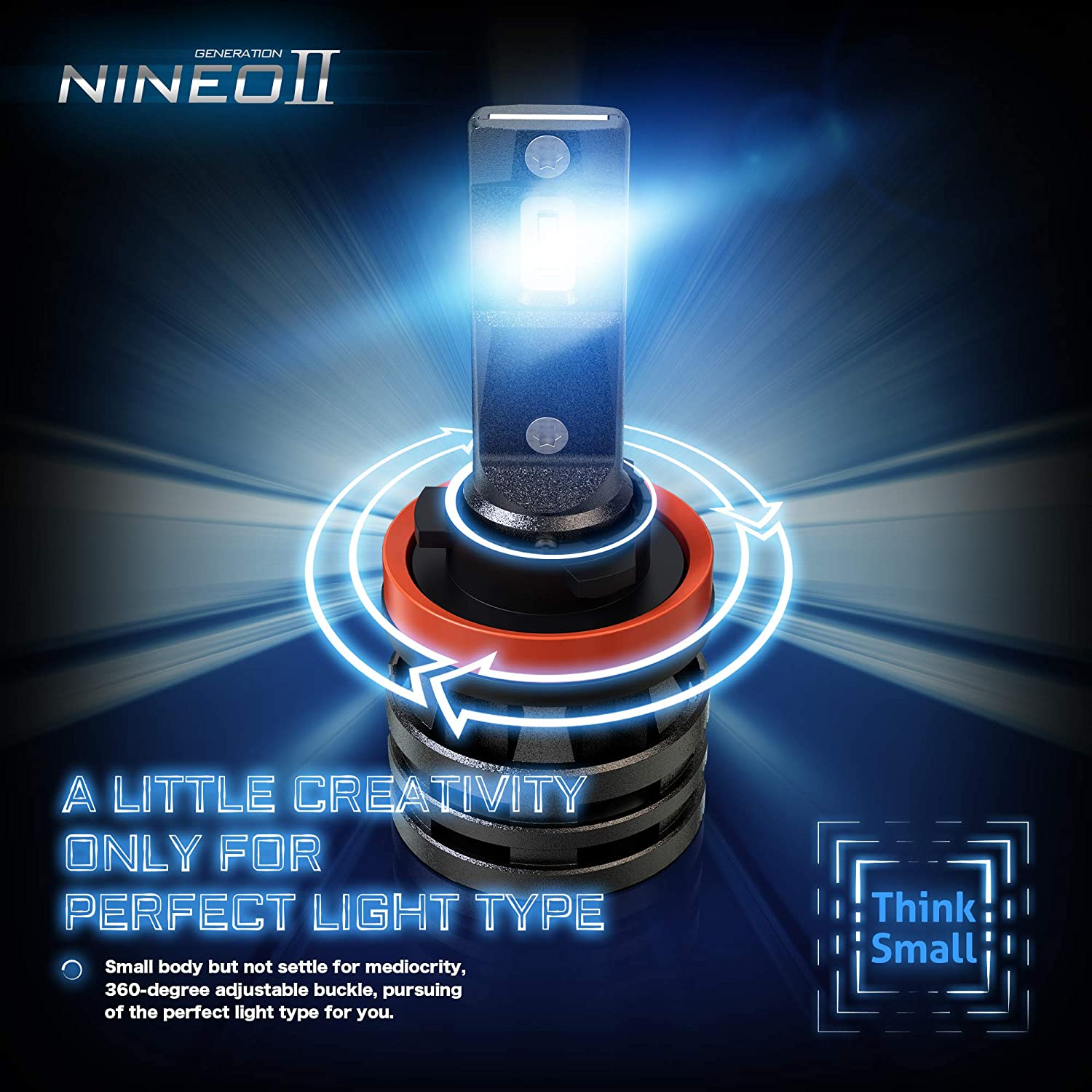 NINEO H1 LED Headlight Bulbs w//Small Size,10000LM 6500K Cool White CREE Chips All-in-One Conversion Kit