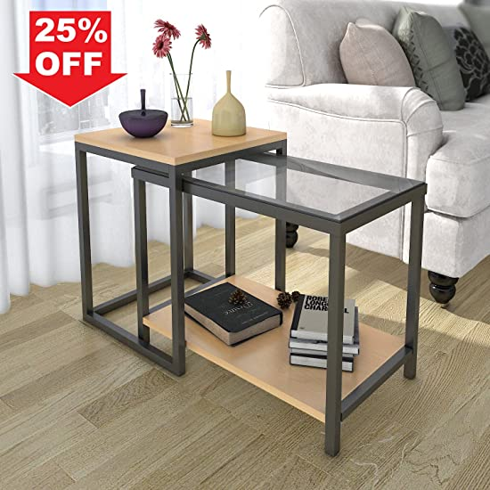Lifewit 2-piece Side Table Nesting Table Accent Table Set, Combination  Extension Slide End Sofa Table