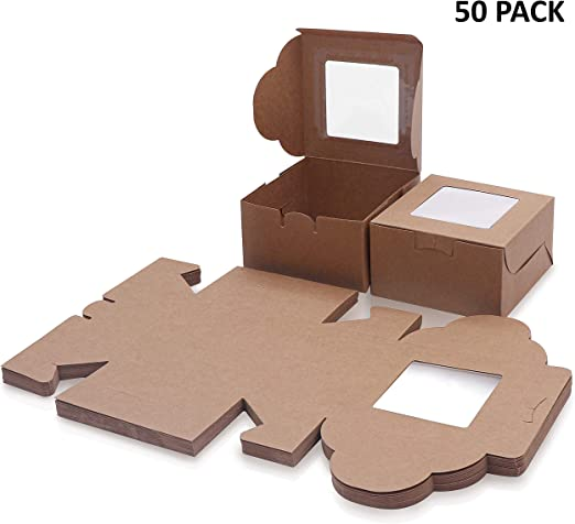 Caja Pasteleria Marrón Kraft (Pack de 50) - Caja Carton con ...