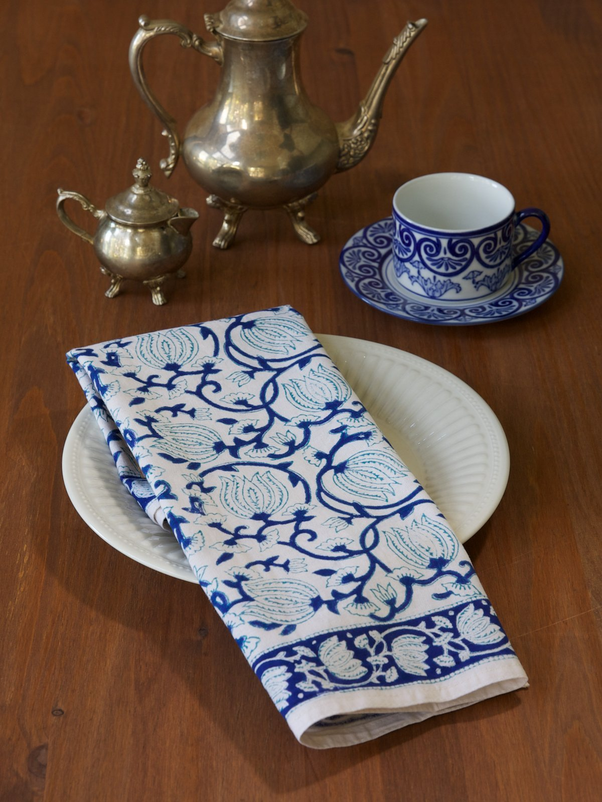 Midnight Lotus ~ Blue and White Floral Party Dinner Napkins