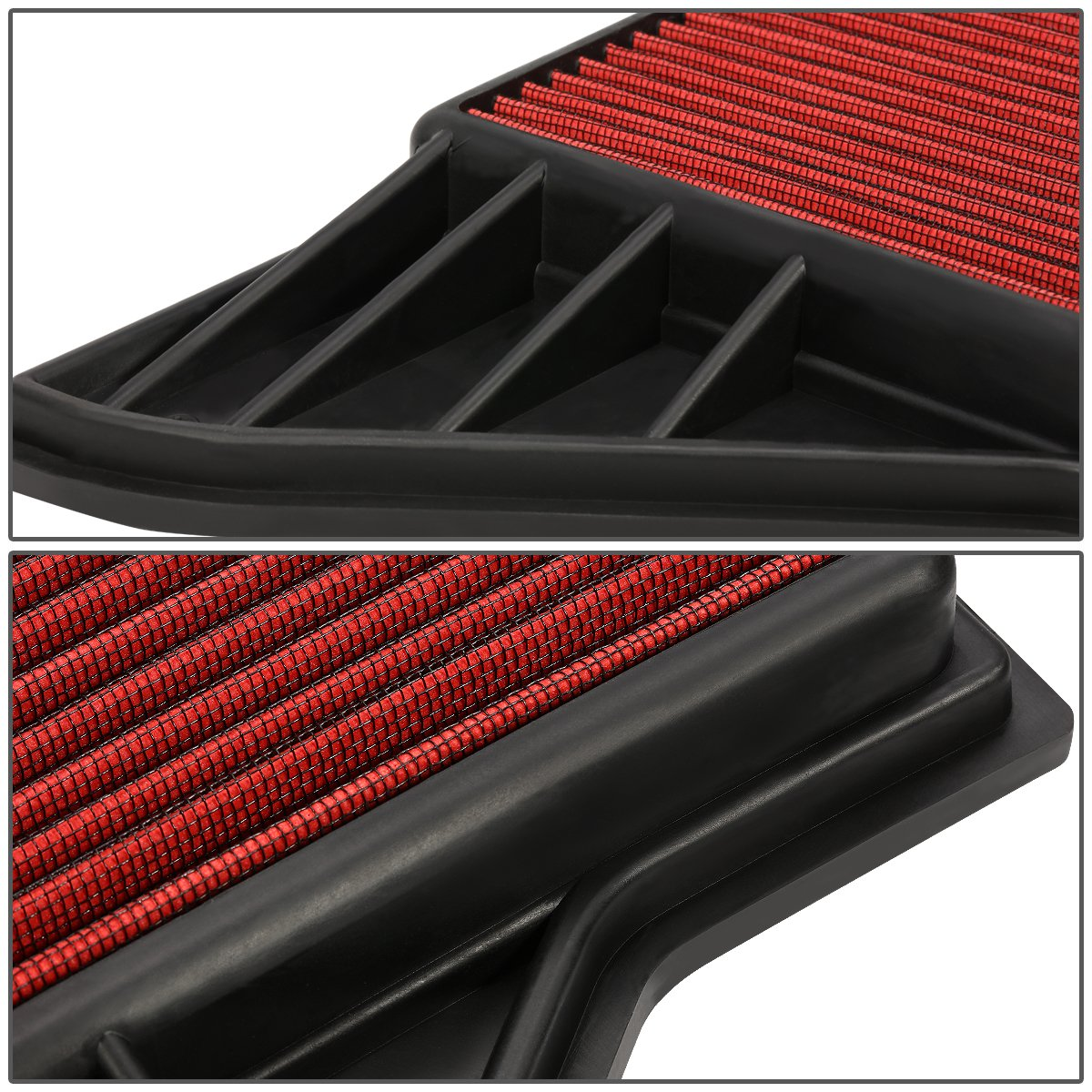 DNA Motoring AFPN-075-RD Drop In Panel Air Filter For 10-14 Ford Mustang 3.7L 4.6L 5.0L