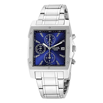 a55a924a7 Pulsar Men's PF8339 Chronograph Square Blue Dial Stainless Steel Watch:  Amazon.co.uk: Watches
