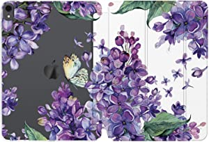 Cavka Case for Apple iPad 10.2 8th Gen 12.9 Pro 11 10.5 9.7 Air 3 Mini 5 4 3 2 1 2019/18 Lilac Auto Wake Sleep Spring Women Purple Floral Smart Cover Blooming Slim Vintage Girl Clear Flowers