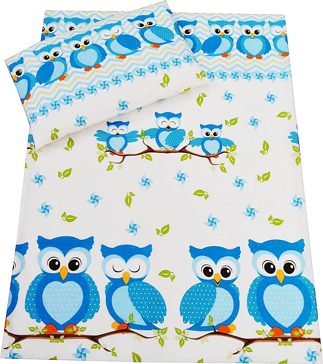 Babies-Island A2 Piece Bedding Set Pillowcase+Duvet Cover For Baby Toddler To Fit Cot/Cot Bed - BLUE OWLS WITH PINWHEELS (120x150 cm)