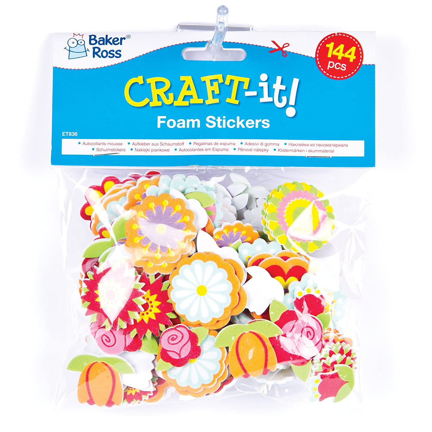 f38ce803df Baker Ross ET836 Flower Foam Stickers (Pack of 144), Assorted:  Amazon.co.uk: Toys & Games