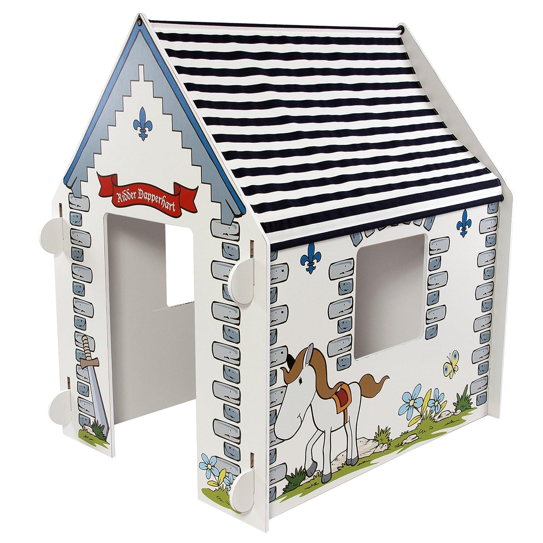 Momo for kids Spielhaus für Kinder aus Holz | Grau Ritter design | Indoor spielhaus | Ohne Werkzeuge zo montieren