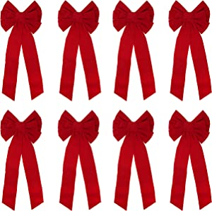 "JOYIN 8 Pack Red Velvet Bows, 26"" Long 10"" Wide 9 Loop Christmas Bows"