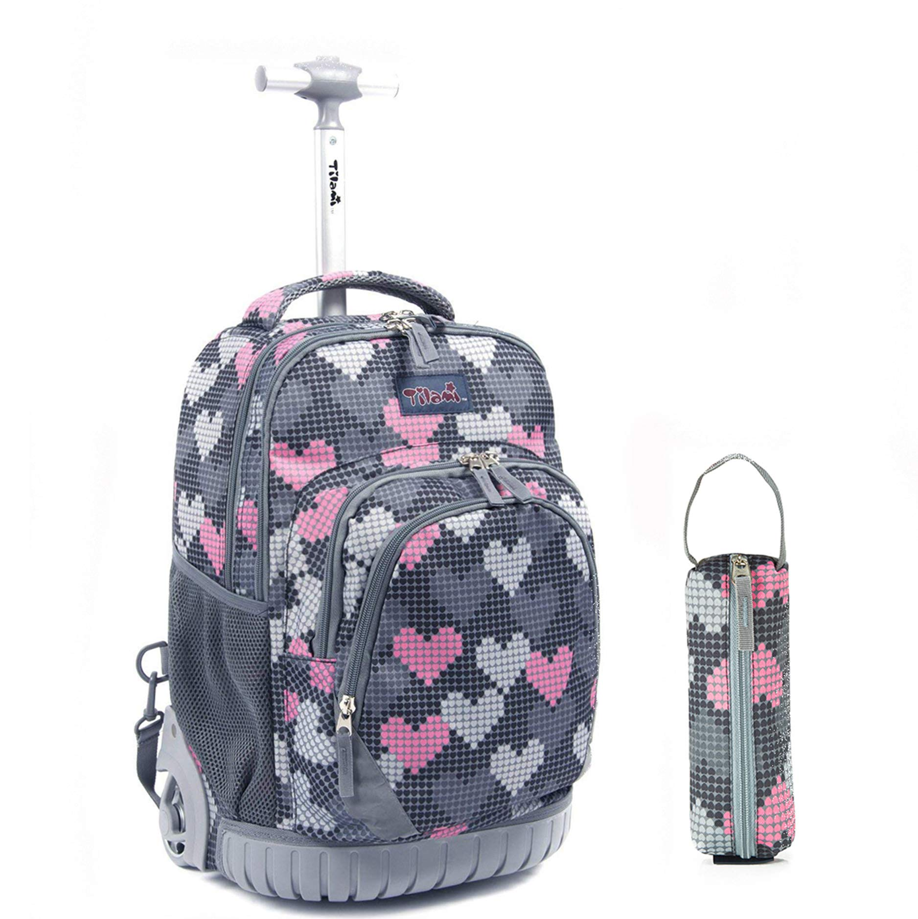 Tilami Rolling Backpack 18 Inch for School Travel with Pencil Case (Grey Heart)