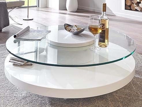 Couchtisch glas oval weiß  Couchtisch Glas rund weiß Hochglanz Almada Lack Sicherheitsglas ...