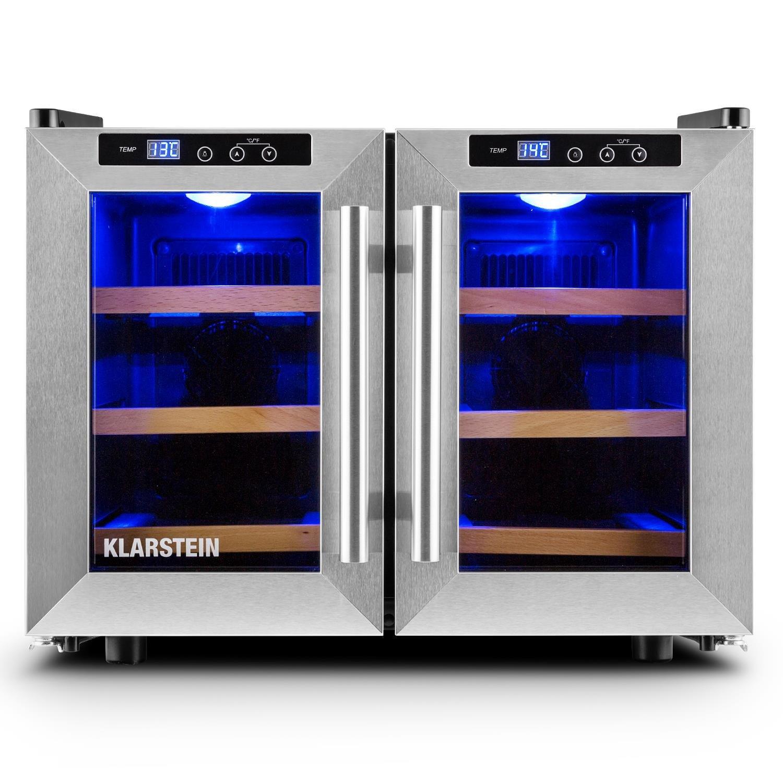 Klarstein Reserva Piccola vinoteca (8 botellas, 25 litros, temperatura ajustable, iluminación interior, sensor térmico, panel táctil, 3 estantes extraíbles, puerta cristal) - negro