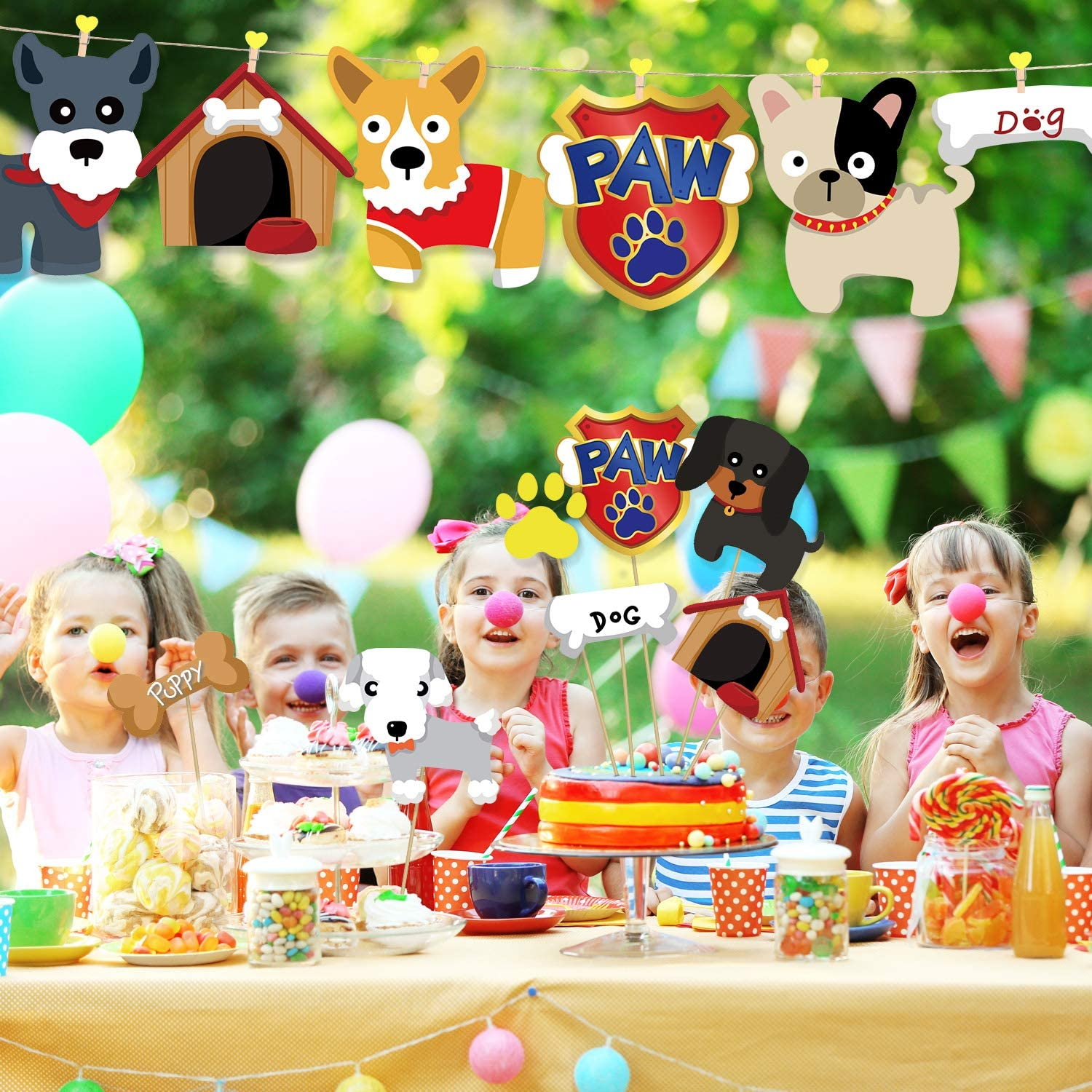 25 Pieces Puppy Dog Party/Decoration Set Pet Birthday Party Centerpiece/Sticks Table Toppers for Puppy Dog Themed Party Baby Shower Birthday Party Supplies Double Side Printed