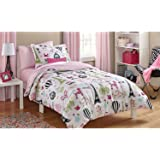 I Love Paris, Girls Twin Pink White and Black Cute Parisian Bedding Set (4 Piece Bed in a Bag)