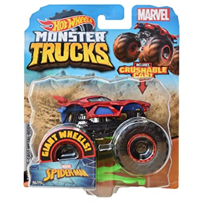 Hot Wheels Monster Trucks 1:64 Scale Spider Man 36/75 Crushable Car, red: Toys & Games
