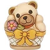 THUN® - Teddy Piccolo nel Cesto - Animali da Soprammobile - Ceramica - I Classici
