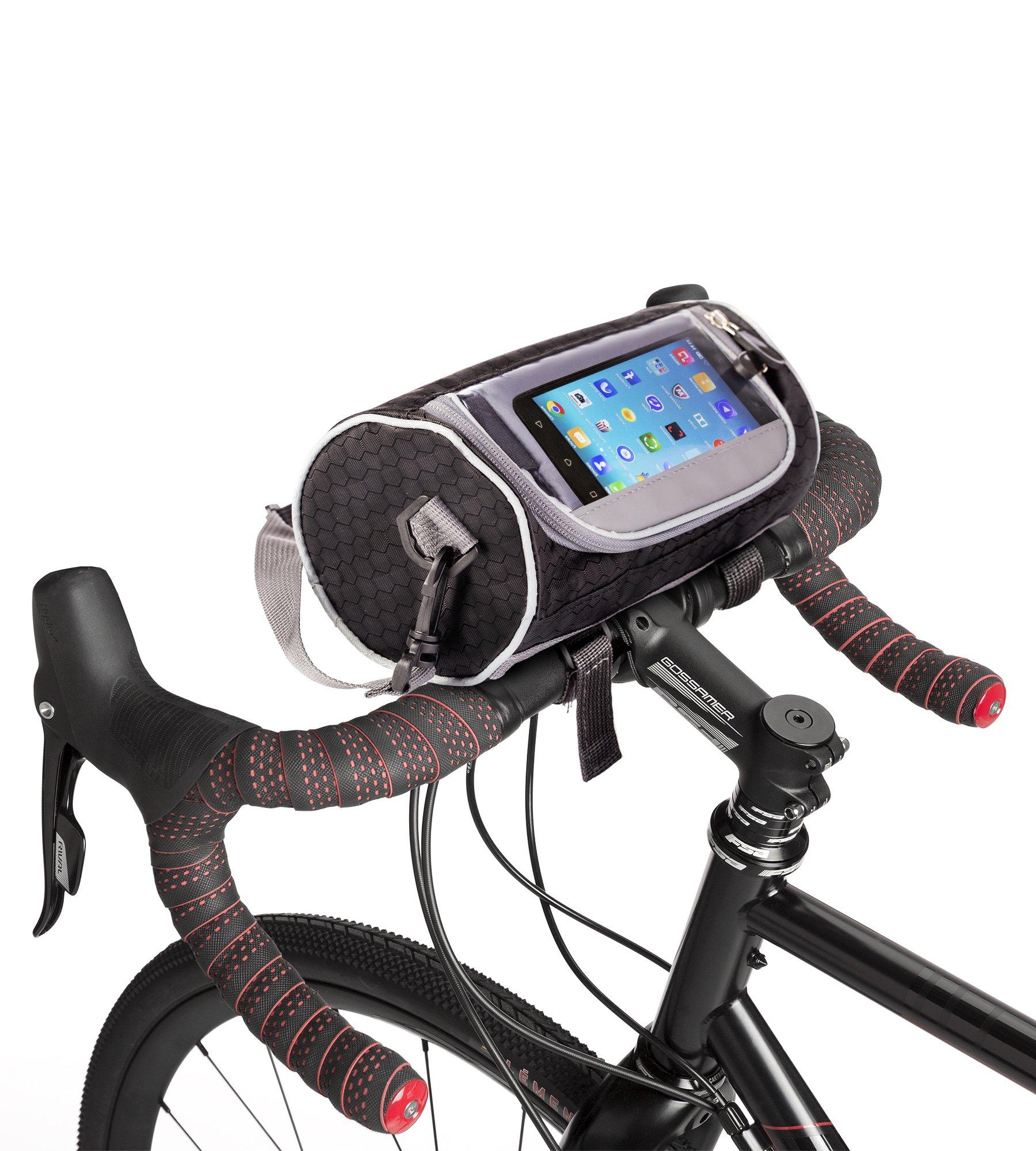 Boxiki travel Bicycle Handlebar Bag for Road Bikes, Mountain Bikes & Motorcycles. Bike Pannier Pouch w/Touchscreen Phone Holder. Waterproof Bike Frame Storage Bag Removable Shoulder Strap by Boxiki travel (Image #1)