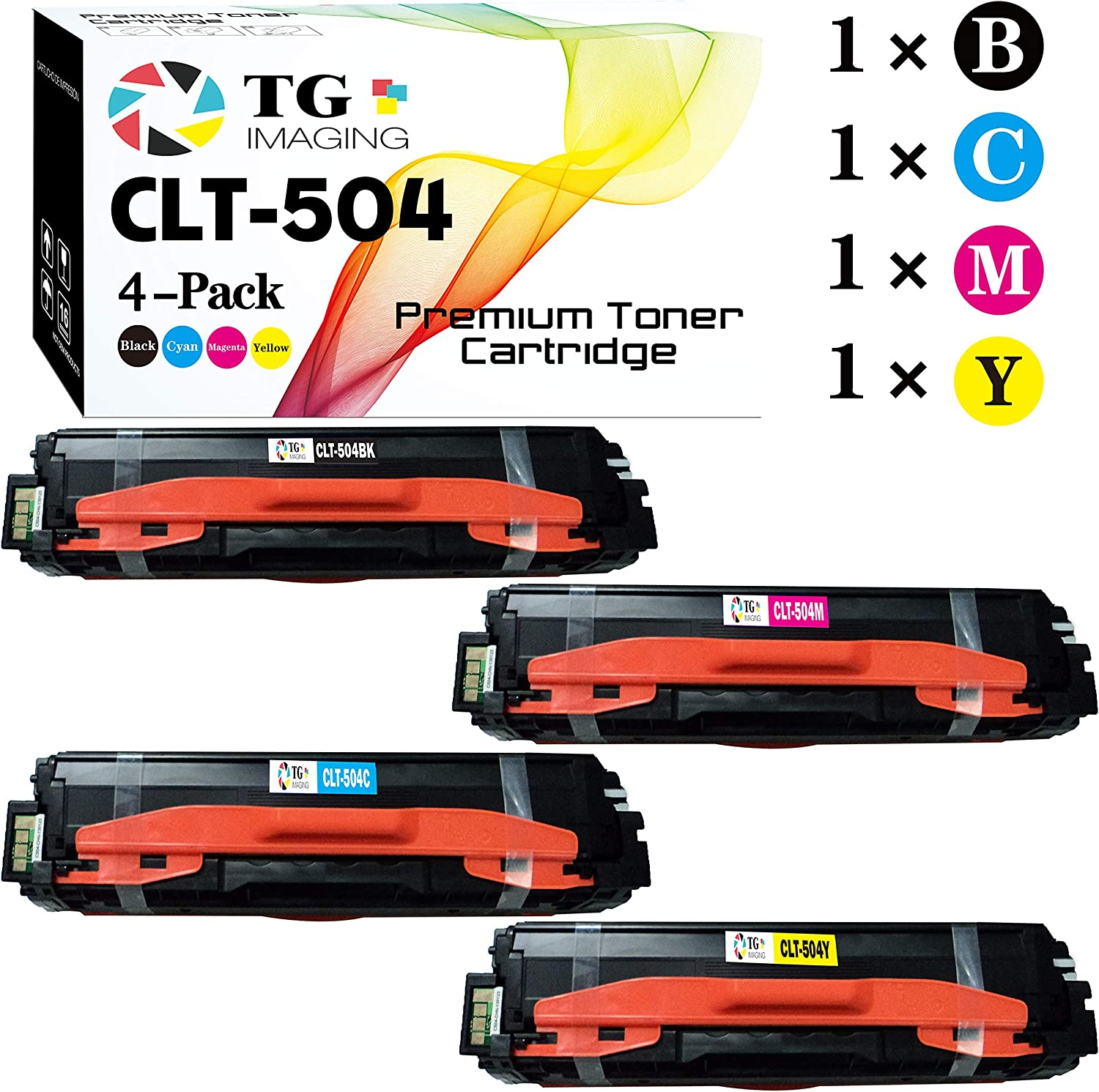 (4 Pack Set) TG Imaging Compatible CLT-504S CLT504S Toner Cartridge for use in Samsung 504s 81EdbymPGKL