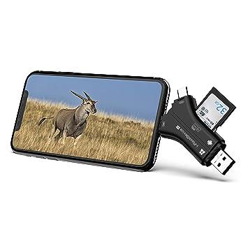 Campark 4 en 1 Lector de Tarjetas USB 2.0 Adaptador Compatible con iPhone iPad Mac y Android Lector De Tarjetas SD y Micro SD para Poder Ver en Vídeo ...