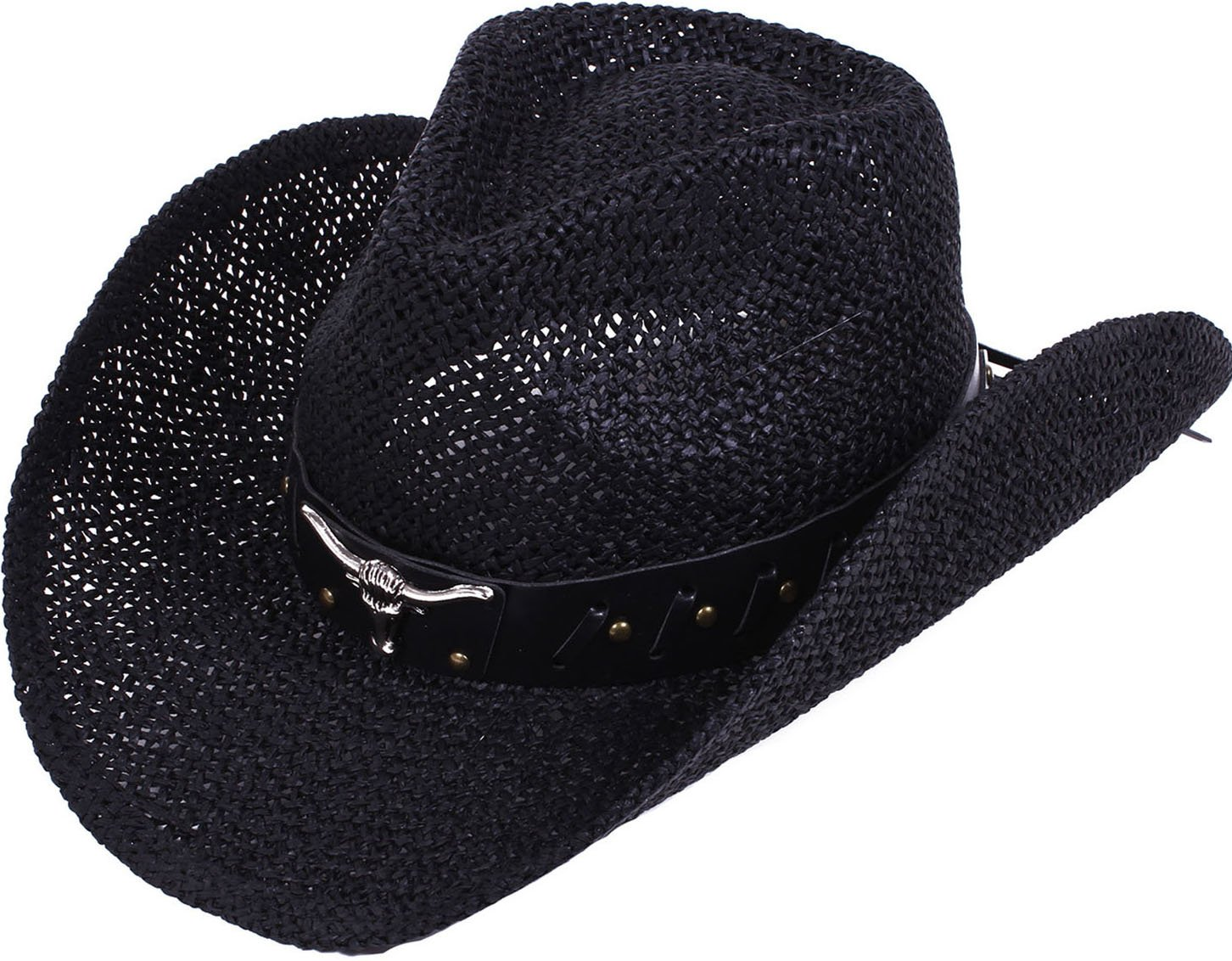 YoungLove Men and Women Straw Cowboy Hat with Decor,Black_Bull