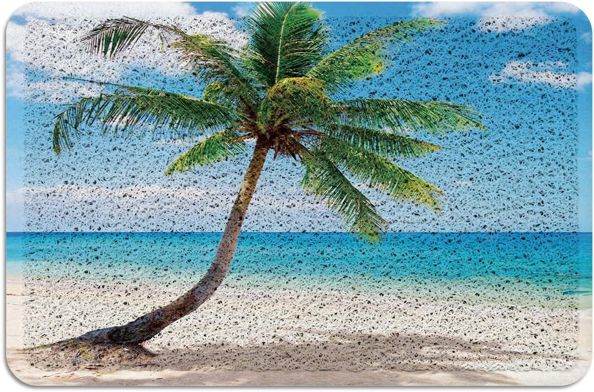 Coconut Palm Tree Sandy Hawaii PVC Doormat Non Slip Ocean Tropical Beach Theme Entryway Rug Indoor Outdoor Garage Patio High Traffic Areas Shoe Rugs