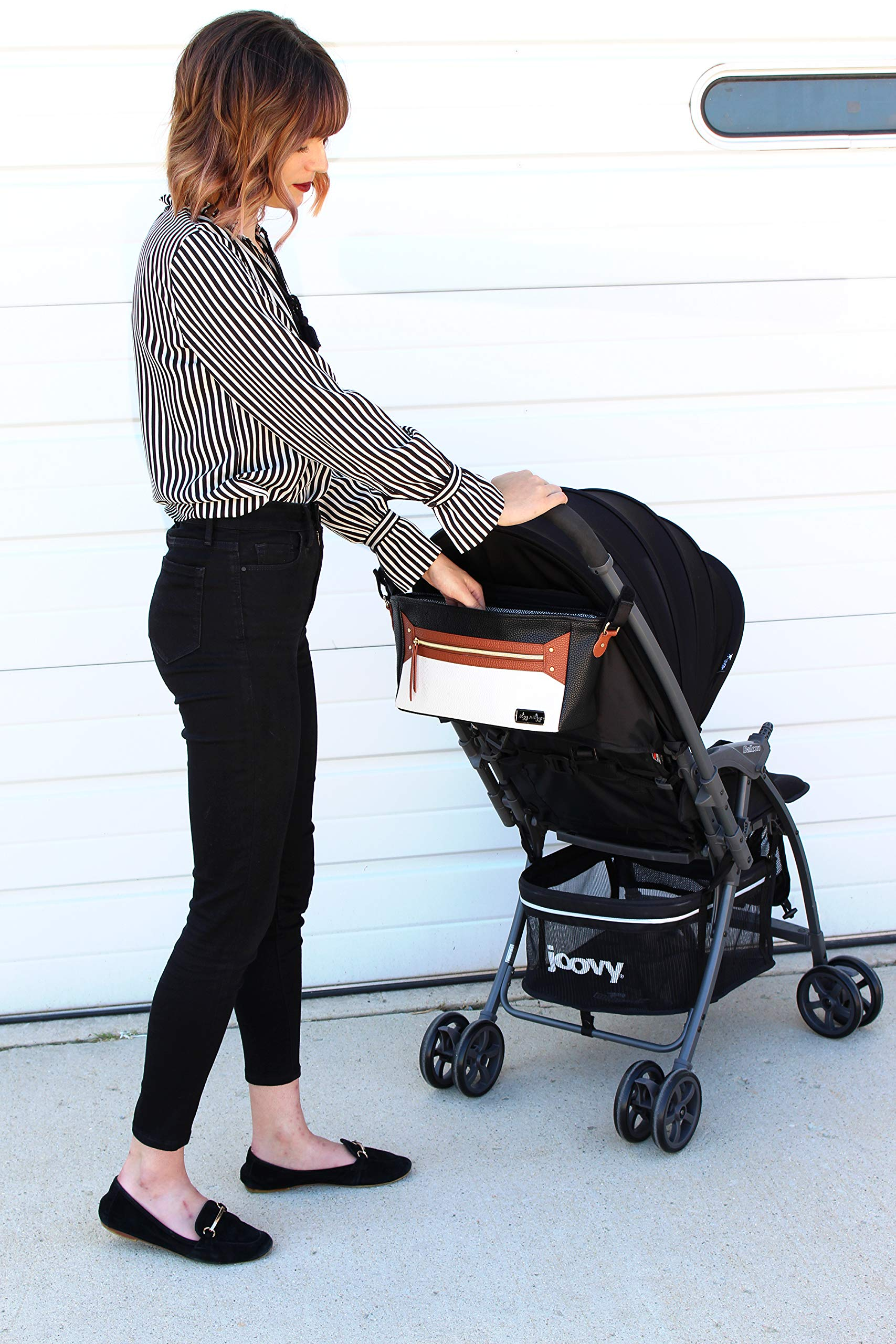 Itzy Ritzy Adjustable Stroller Caddy - Stroller Organizer Featuring Two Built-in Pockets, Front Zippered Pocket and Adjustable Straps to Fit Nearly Any Stroller, Coffee and Cream by Itzy Ritzy (Image #4)